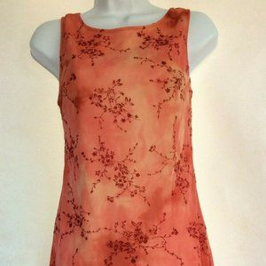 Up Front Coral Orange Floral Sleeveless Dress